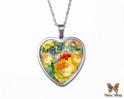 Yellow Roses Heart Pendant