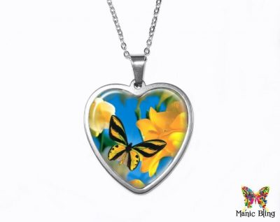Yellow Butterfly Heart Pendant Heart Pendants