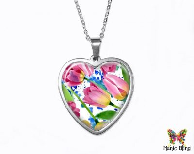 Watercolor Tulips Heart Pendant Heart Pendants