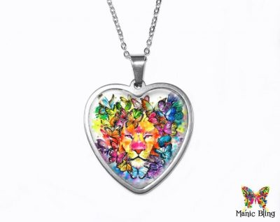 Watercolor Lion Heart Pendant Heart Pendants