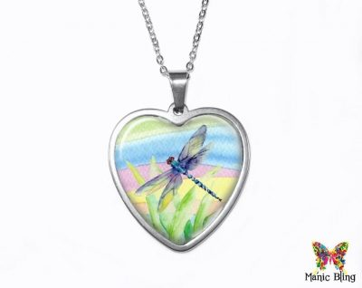 Watercolor Dragonfly Heart Pendant Heart Pendants