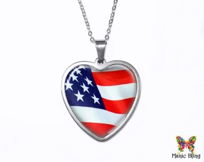US Flag Heart Pendant Heart Pendants