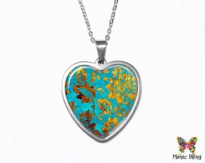 Turquoise Gold Heart Pendant