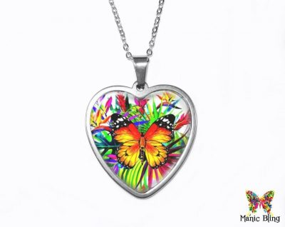 Tropical Butterfly Heart Pendant Heart Pendants