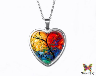 Painted Tree Heart Pendant Heart Pendants