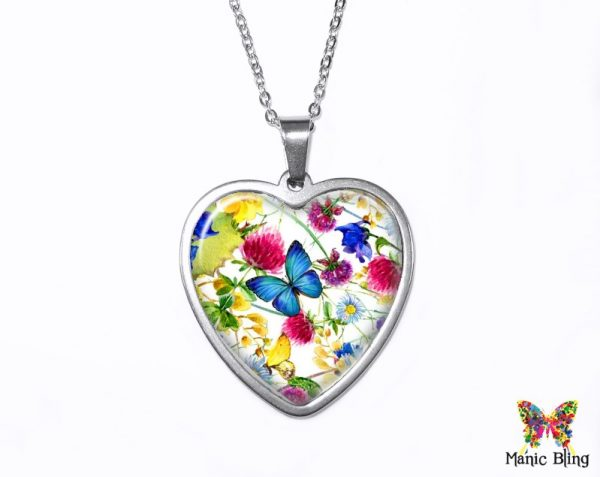 Spring Wildflowers Heart Pendant