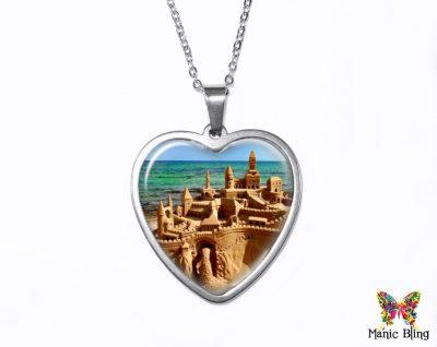 Sand Castle Heart Pendant