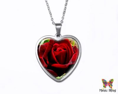 Red Rose Heart Pendant Heart Pendants