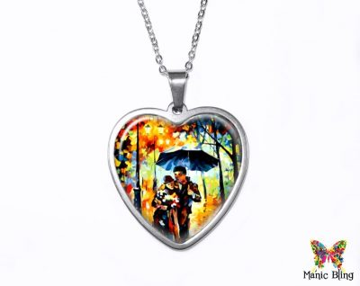 Rainy Day Couple Heart Pendant Heart Pendants