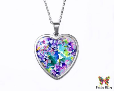 Purple Flowers Heart Pendant Heart Pendants