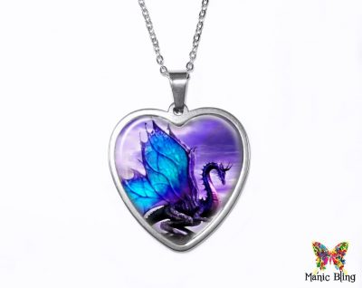 Purple Dragon Heart Pendant Heart Pendants
