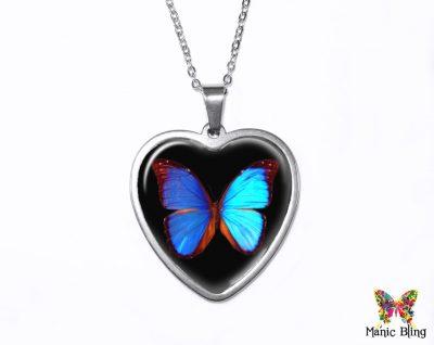 Morpho Butterfly Heart Pendant