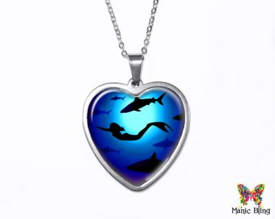 Mermaid Sharks Heart Pendant Heart Pendants