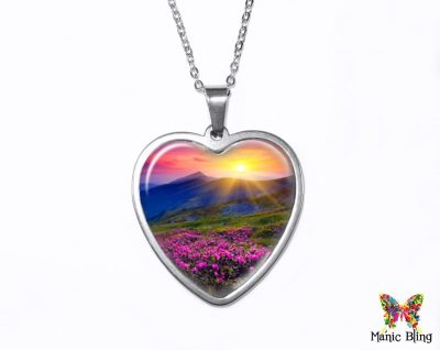 Meadow Sunset Heart Pendant Heart Pendants