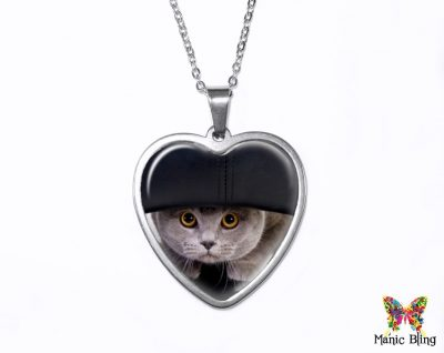 Hiding Cat Heart Pendant Heart Pendants