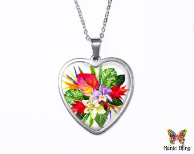 Hawaiian Flower Heart Pendant Heart Pendants