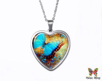 Grunge Butterfly Heart Pendant