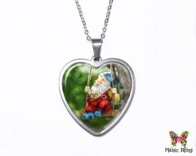 Garden Gnome Heart Pendant
