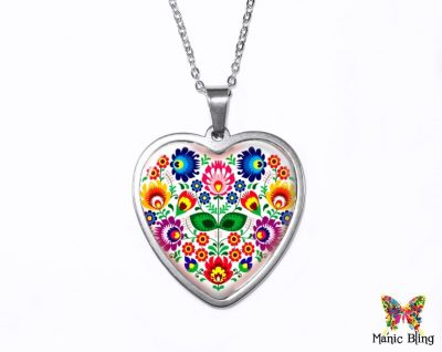 Folk Art Heart Pendant Heart Pendants