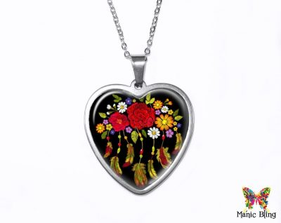 Flowers Feathers Heart Pendant Heart Pendants