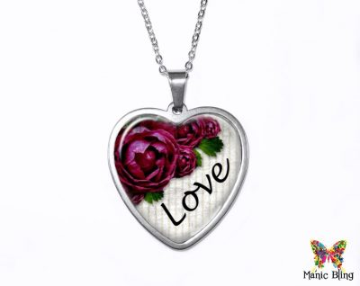Flower Love Heart Pendant Heart Pendants