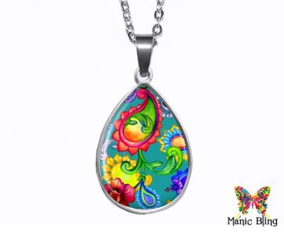 Bright Paisley Teardrop Pendant Easter