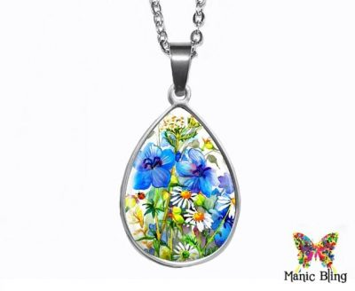 Blue Wildflowers Teardrop Pendant