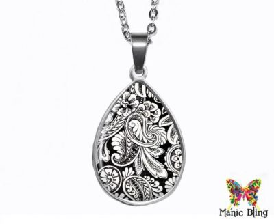 Black White Paisley Teardrop Pendant Easter