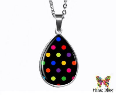 Black Polka Dot Teardrop Pendant
