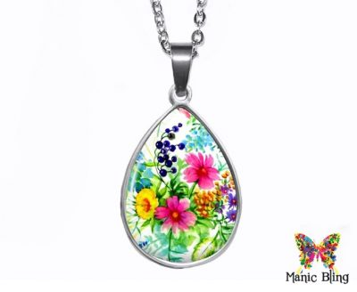 Wildflower Teardrop Pendant Easter