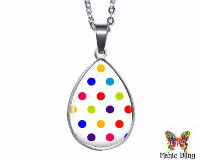 White Polka Dot Teardrop Pendant Easter
