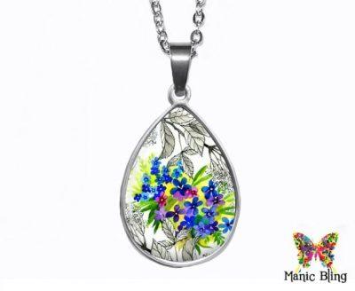 Violet Flowers Teardrop Pendant Easter