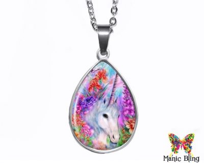 Unicorn Teardrop Pendant Easter
