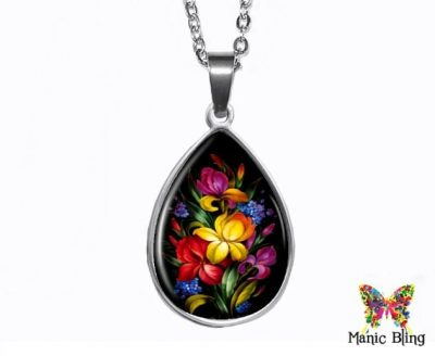 Tropical Flowers Teardrop Pendant Easter