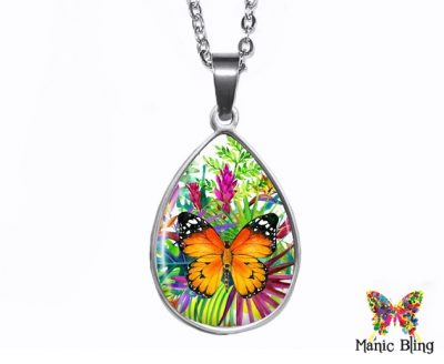 Tropical Butterfly Teardrop Pendant Easter