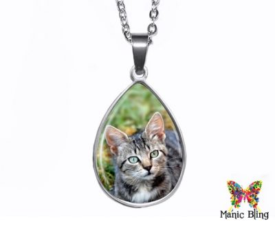 Tabby Cat Teardrop Pendant Easter