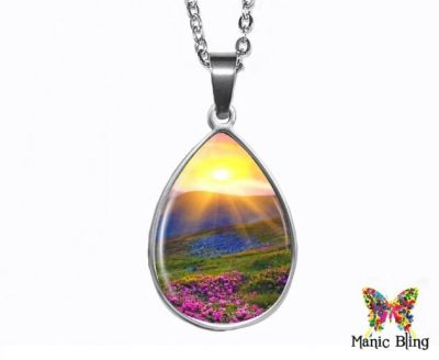 Sunset Meadow Teardrop Pendant Easter