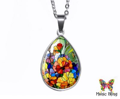 Stained Glass Teardrop Pendant Easter