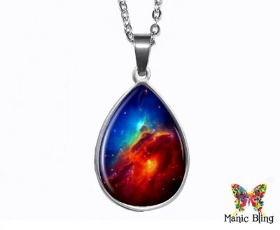 Space Nebula Teardrop Pendant Easter