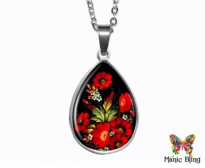 Red Flowers Teardrop Pendant Easter