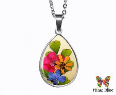 Pressed Flower Teardrop Pendant Easter