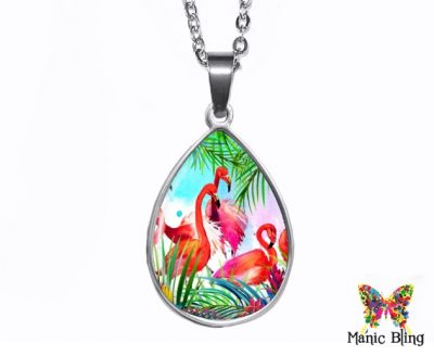 Pink Flamingo Teardrop Pendant Easter