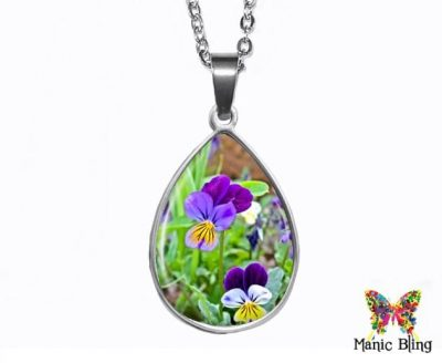 Pansies Teardrop Pendant Easter