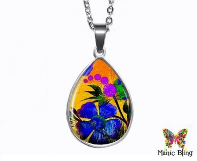 Painted Flower Teardrop Pendant