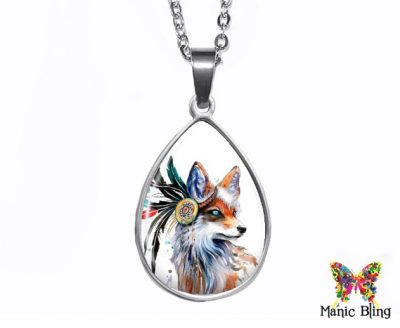 Fox Teardrop Pendant Easter