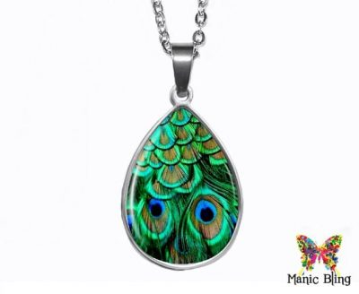 Green Peacock Teardrop Pendant Easter