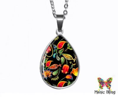 Folk Art Teardrop Pendant Easter