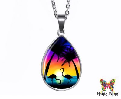 Flamingo Teardrop Pendant
