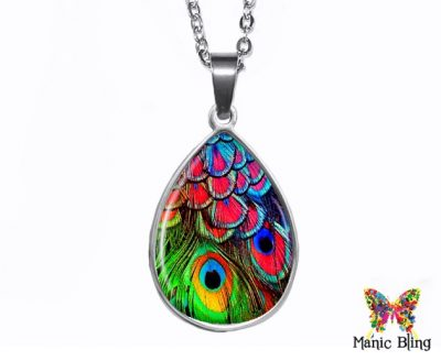 Colorful Peacock Teardrop Pendant