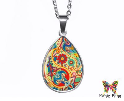 Colorful Paisley Teardrop Pendant